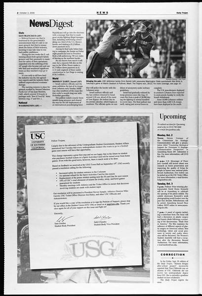 Daily Trojan, Vol. 159, No. 29, October 02, 2006