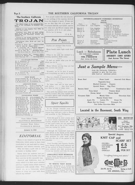 The Southern California Trojan, Vol. 7, No. 57, January 12, 1916