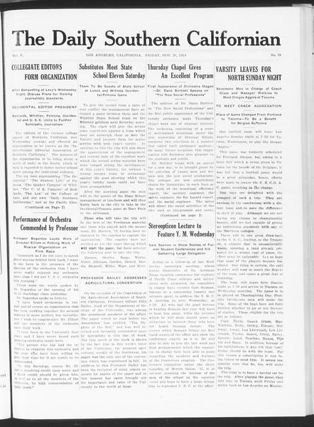 The Daily Southern Californian, Vol. 5, No. 38, November 20, 1914
