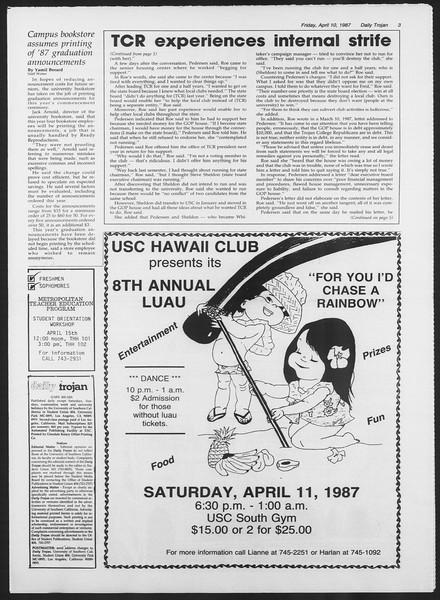 Daily Trojan, Vol. 103, No. 56, April 10, 1987