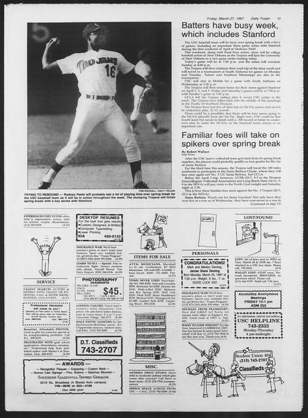 Daily Trojan, Vol. 103, No. 52, March 27, 1987