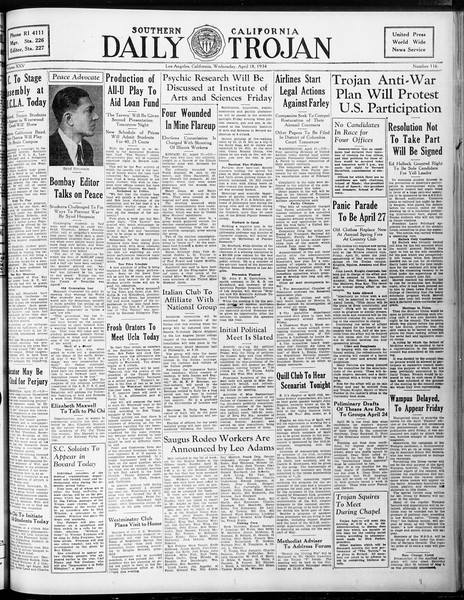 Daily Trojan, Vol. 25, No. 116, April 18, 1934
