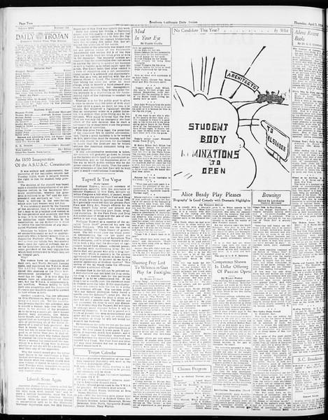 Daily Trojan, Vol. 25, No. 107, April 05, 1934