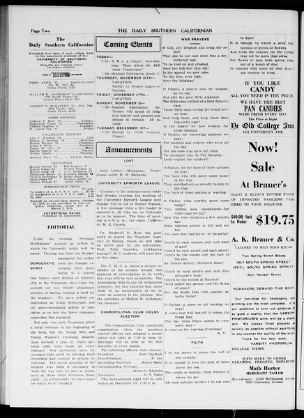 The Daily Southern Californian, Vol. 5, No. 40, November 25, 1914