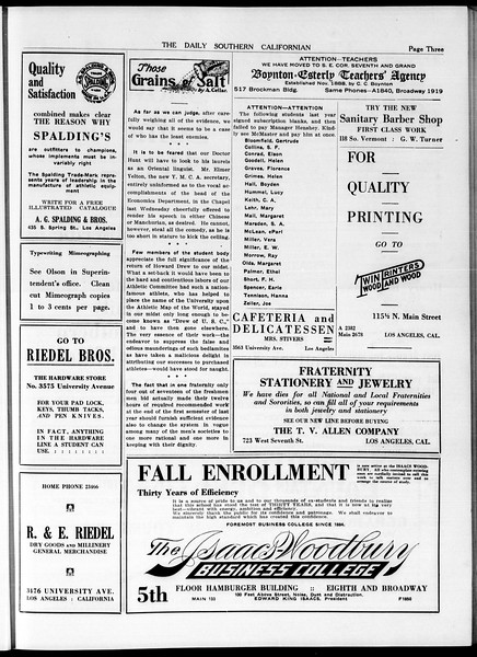 The Daily Southern Californian, Vol. 5, No. 5, September 23, 1914
