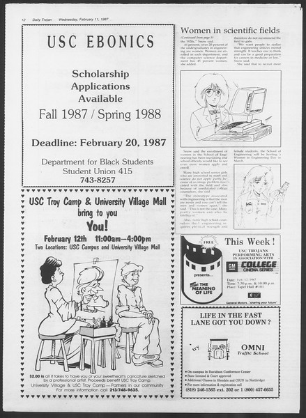Daily Trojan, Vol. 103, No. 22, February 11, 1987