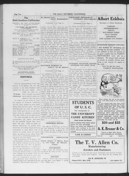 The Daily Southern Californian, Vol. 6, No. 28, May 28, 1915