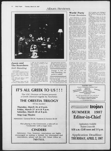 Daily Trojan, Vol. 103, No. 49, March 24, 1987