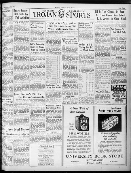 Daily Trojan, Vol. 25, No. 96, March 14, 1934
