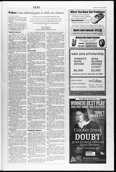 Daily Trojan, Vol. 159, No. 27, September 28, 2006