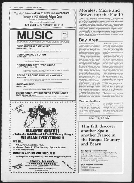 Daily Trojan, Vol. 103, No. 58, April 14, 1987