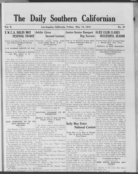 The Daily Southern Californian, Vol. 10, No. 49, May 16, 1913