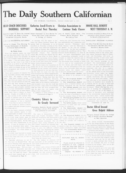 The Daily Southern Californian, Vol. 6, No. 3, February 12, 1915
