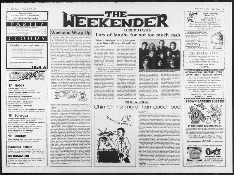 Daily Trojan, Vol. 103, No. 61, April 17, 1987