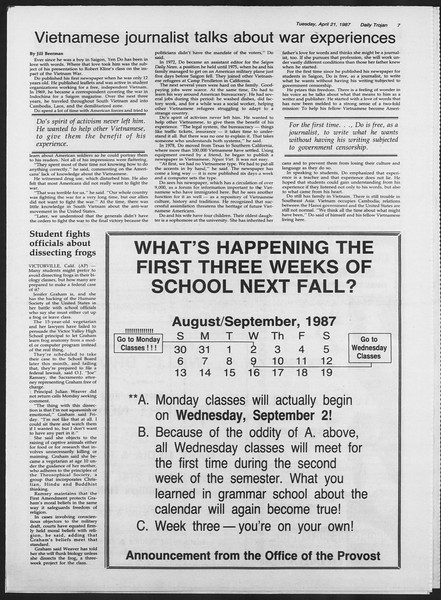 Daily Trojan, Vol. 103, No. 63, April 21, 1987