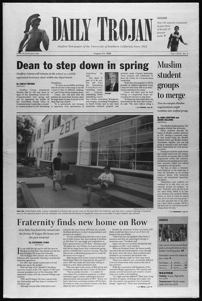 Daily Trojan, Vol. 159, No. 4, August 24, 2006