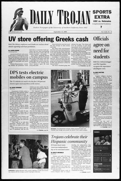 Daily Trojan, Vol. 159, No. 18, September 15, 2006