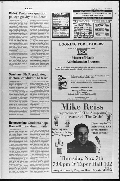 Daily Trojan, Vol. 147, No. 52, November 07, 2002