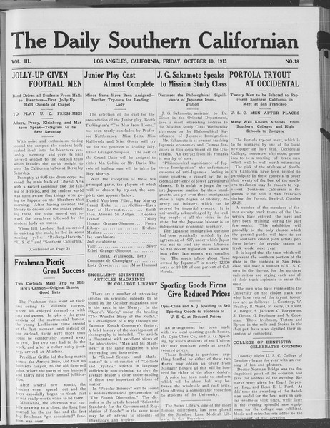 The Daily Southern Californian, Vol. 3, No. 18, October 10, 1913