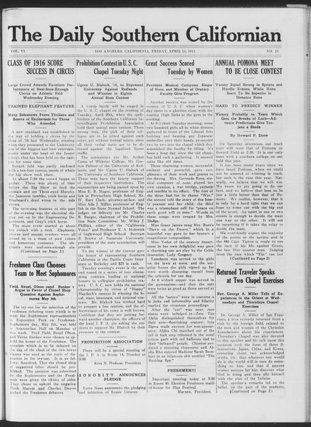 The Daily Southern Californian, Vol. 6, No. 18, April 16, 1915