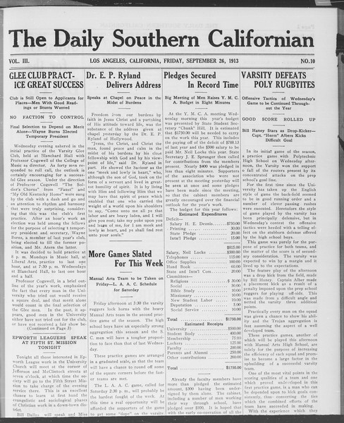 The Daily Southern Californian, Vol. 3, No. 10, September 26, 1913