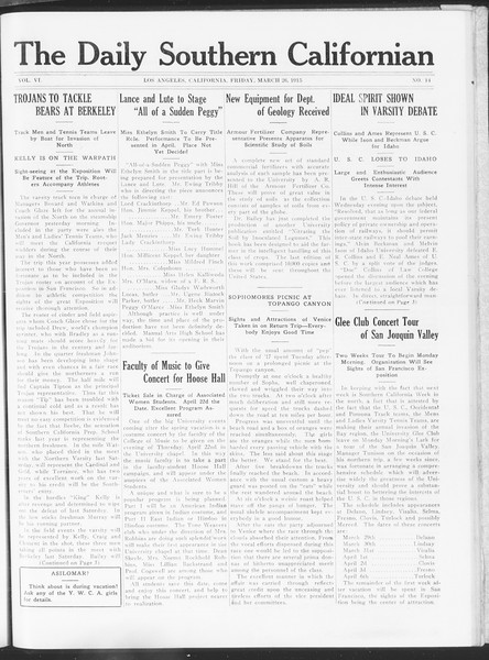 The Daily Southern Californian, Vol. 6, No. 14, March 26, 1915