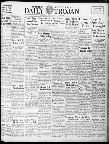 Daily Trojan, Vol. 25, No. 120, April 24, 1934