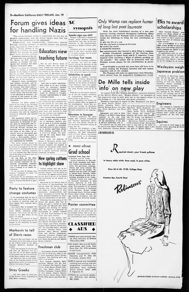 Daily Trojan, Vol. 36, No. 50, January 19, 1945