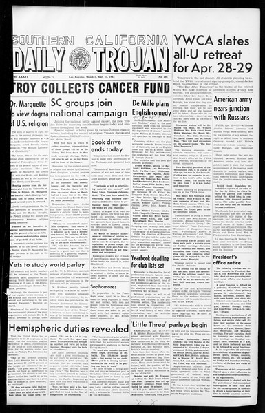 Daily Trojan, Vol. 36, No. 106, April 23, 1945