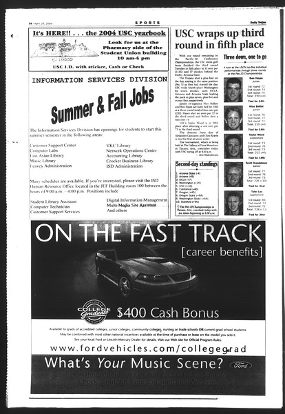 Daily Trojan, Vol. 151, No. 66, April 28, 2004