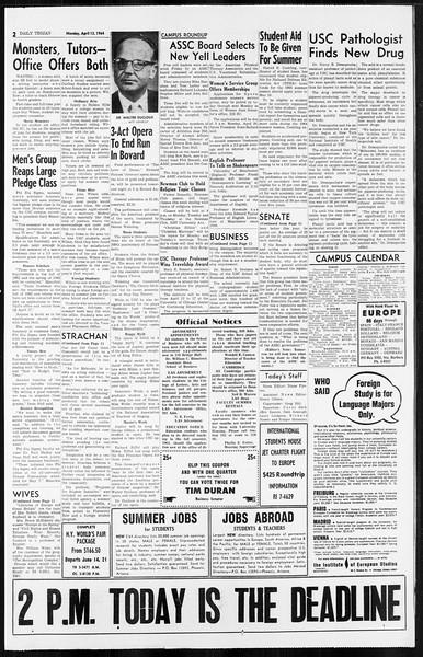 Daily Trojan, Vol. 55, No. 96, April 13, 1964