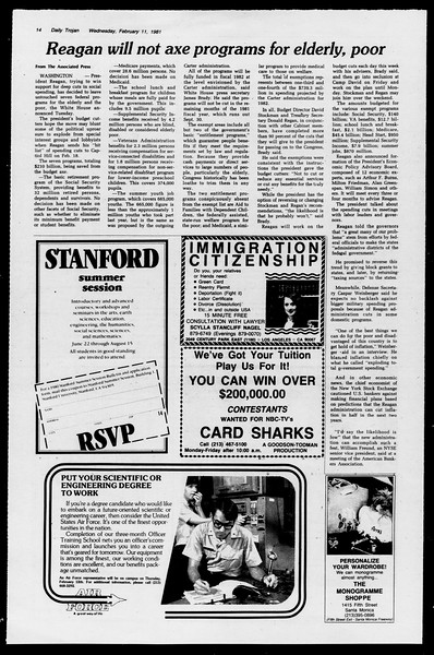 Daily Trojan, Vol. 90, No. 6, February 11, 1981