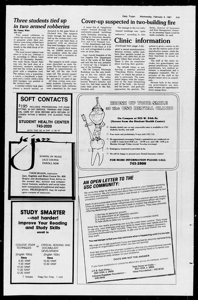 Daily Trojan, Vol. 90, No. 1, February 04, 1981