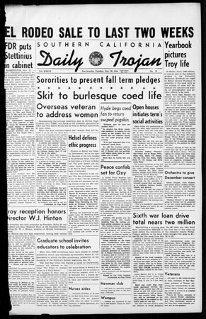 Daily Trojan, Vol. 36, No. 15, November 28, 1944