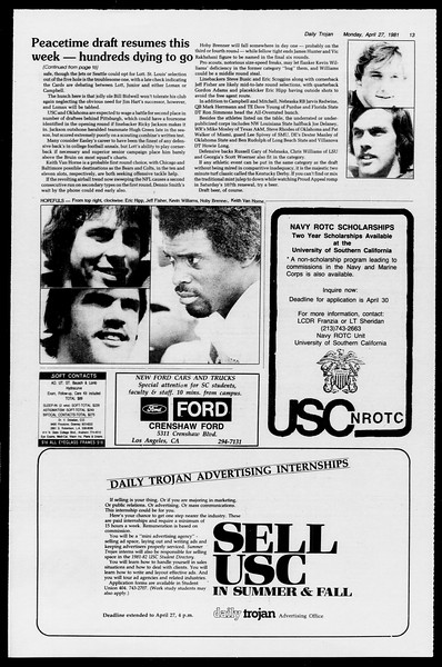 Daily Trojan, Vol. 90, No. 49, April 27, 1981