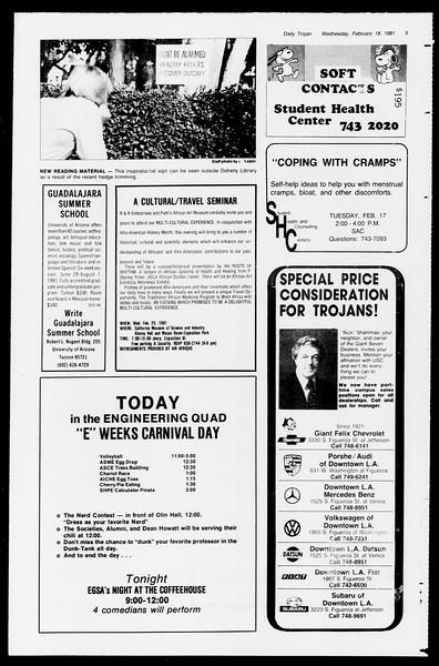 Daily Trojan, Vol. 90, No. 10, February 18, 1981