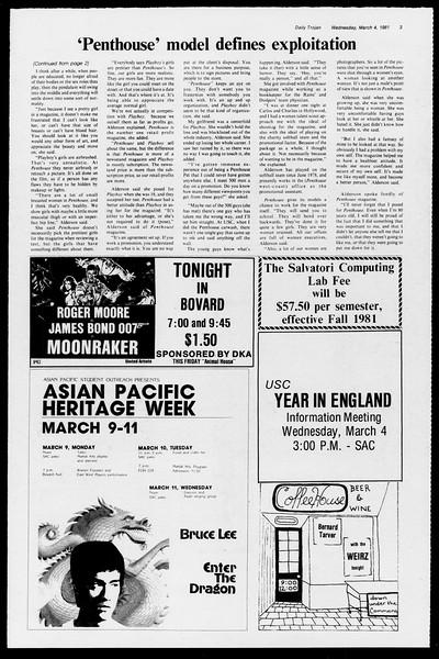 Daily Trojan, Vol. 90, No. 20, March 04, 1981
