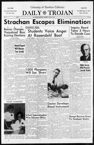 Daily Trojan, Vol. 55, No. 103, April 22, 1964