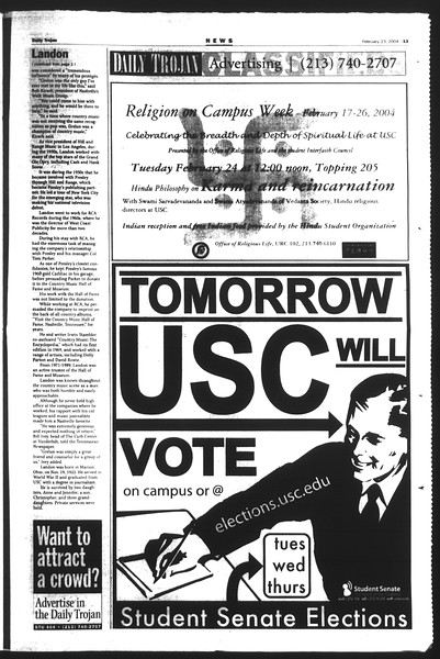 Daily Trojan, Vol. 151, No. 26, February 23, 2004