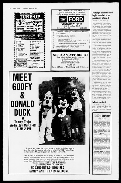 Daily Trojan, Vol. 90, No. 19, March 03, 1981