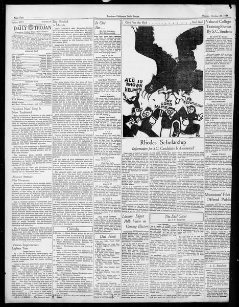 Daily Trojan, Vol. 26, No. 27, October 29, 1934
