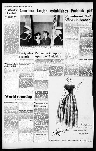Daily Trojan, Vol. 36, No. 98, April 11, 1945