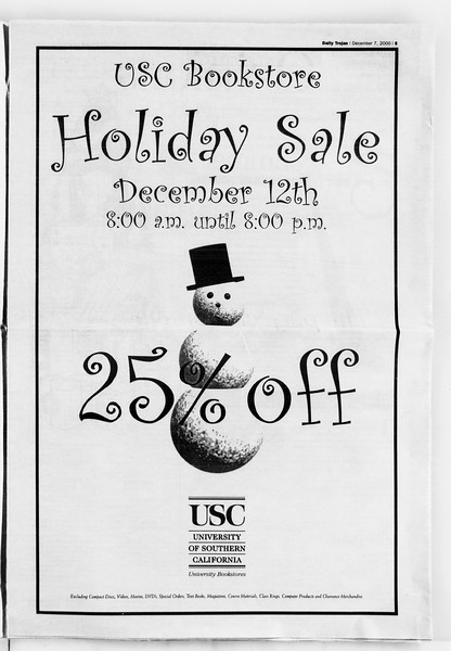 Daily Trojan, Vol. 141, No. 67, December 07, 2000