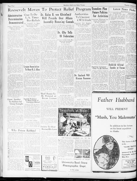 Daily Trojan, Vol. 25, No. 69, January 23, 1934