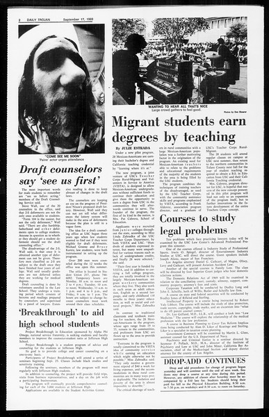 Daily Trojan, Vol. 61, No. 3, September 17, 1969