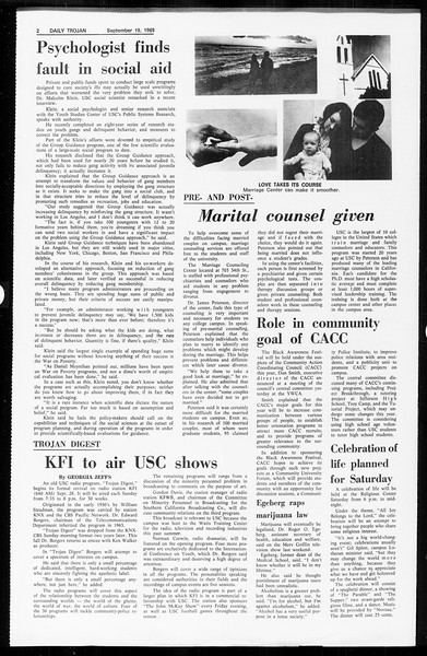 Daily Trojan, Vol. 61, No. 5, September 19, 1969