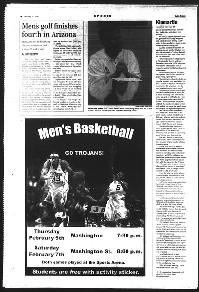 Daily Trojan, Vol. 151, No. 16, February 05, 2004