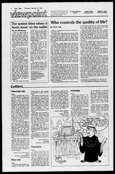 Daily Trojan, Vol. 90, No. 7, February 12, 1981