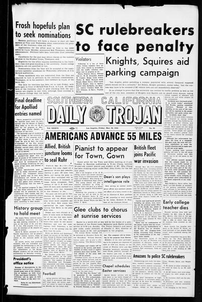 Daily Trojan, Vol. 36, No. 90, March 30, 1945