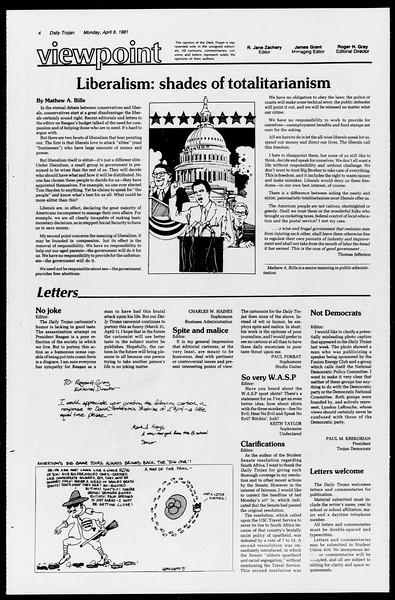 Daily Trojan, Vol. 90, No. 41, April 06, 1981